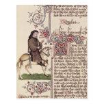 Retrato del facsímil de Geoffrey Chaucer de Postal