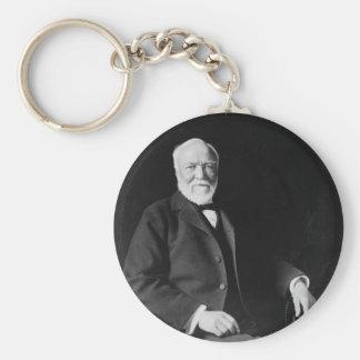 Retrato del filántropo Andrew Carnegie Llavero Redondo Tipo Pin