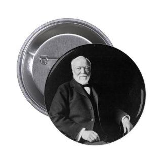 Retrato del filántropo Andrew Carnegie Pin Redondo De 2 Pulgadas