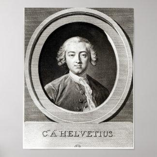 Retrato del francés de Claude Adrien Helvetius Poster