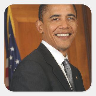 Retrato del funcionario de Barack Obama Calcomanías Cuadradas Personalizadas