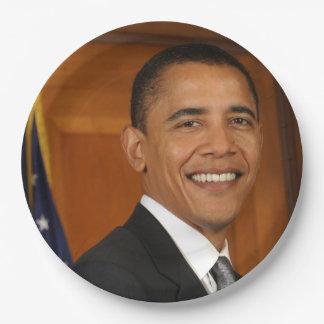Retrato del funcionario de Barack Obama Platos De Papel
