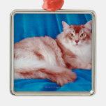 Retrato del gato 3 adorno navideño cuadrado de metal