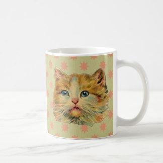 Retrato del gato del vintage taza de café