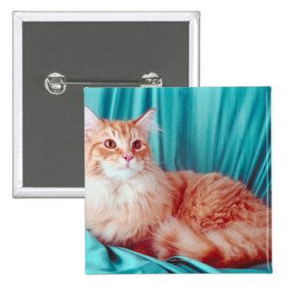 Retrato del gato pin cuadrada 5 cm
