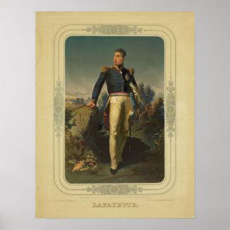 Retrato del general francés marqués de Lafayette Poster
