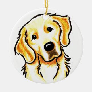 Retrato del golden retriever personalizado adorno navideño redondo de cerámica
