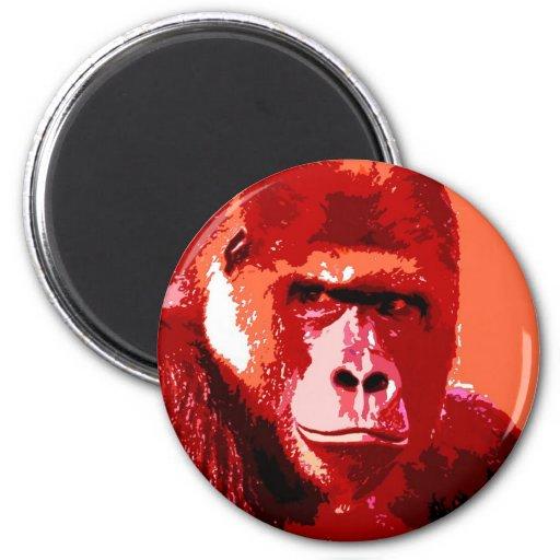 Retrato del gorila imán redondo 5 cm