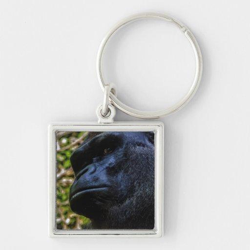 Retrato del gorila llavero cuadrado plateado