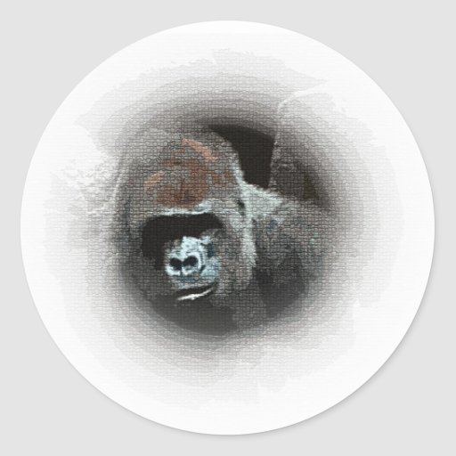 Retrato del gorila pegatina redonda