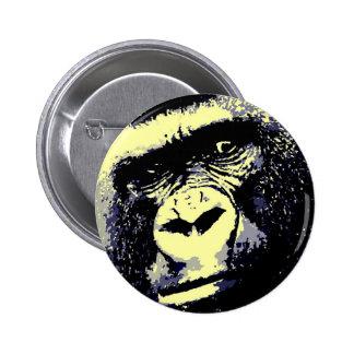 Retrato del gorila pin redondo de 2 pulgadas