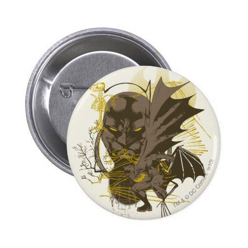 Retrato del Grunge del vintage de Batman Pin Redondo De 2 Pulgadas