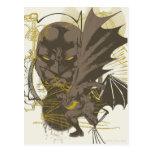 Retrato del Grunge del vintage de Batman Tarjeta Postal