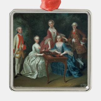 Retrato del grupo de jugar de la familia de adorno navideño cuadrado de metal