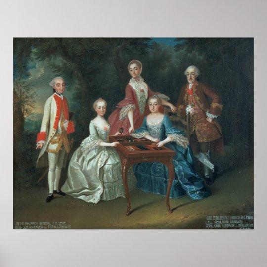 Retrato del grupo de jugar de la familia de Harrac Póster