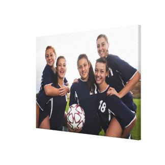 retrato del grupo de los jugadores de fútbol adole impresiones de lienzo