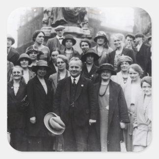 Retrato del grupo de sindicalistas calcomanía cuadradase