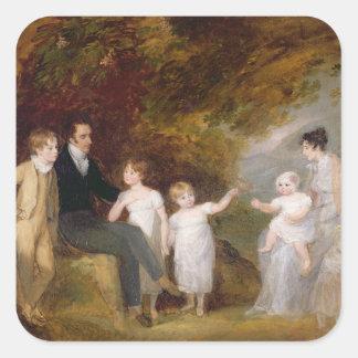 Retrato del grupo en un paisaje enselvado pegatina cuadrada