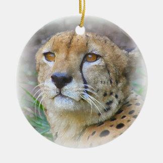 Retrato del guepardo ornamento de navidad