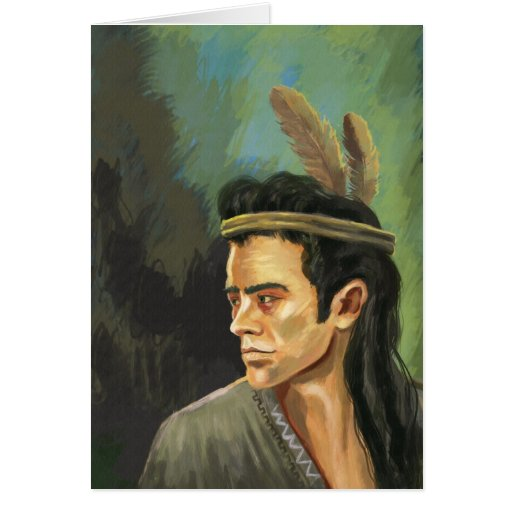 Retrato del guerrero de Apache Tarjeton