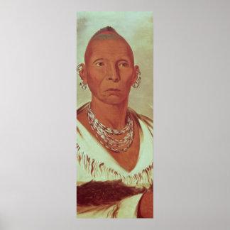 Retrato del halcón negro, jefe indio póster