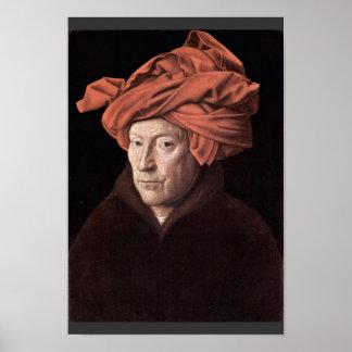 Retrato del hombre con el turbante, por Eyck enero Póster