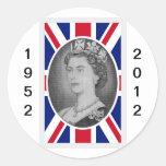 Retrato del jubileo de la reina Elizabeth Pegatina Redonda