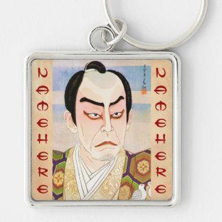 Retrato del kabuki de Natori Shunsen Nakamura Kich Llavero Cuadrado Plateado