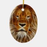 Retrato del león adornos de navidad