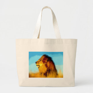 Retrato del león bolsa de tela grande