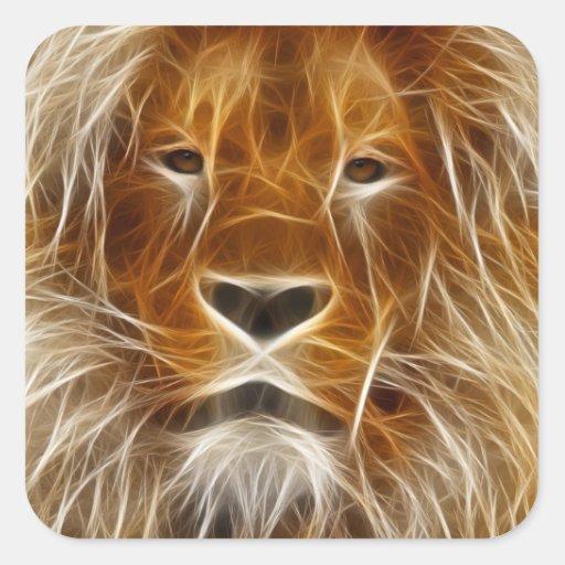 Retrato del león calcomania cuadrada personalizada