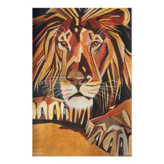 Retrato del león en estilo cubista cojinete