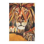 Retrato del león en estilo cubista impresion en lona