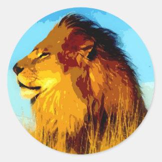 Retrato del león pegatina redonda