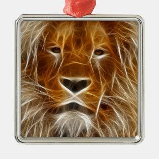Retrato del león que brilla intensamente adorno cuadrado plateado