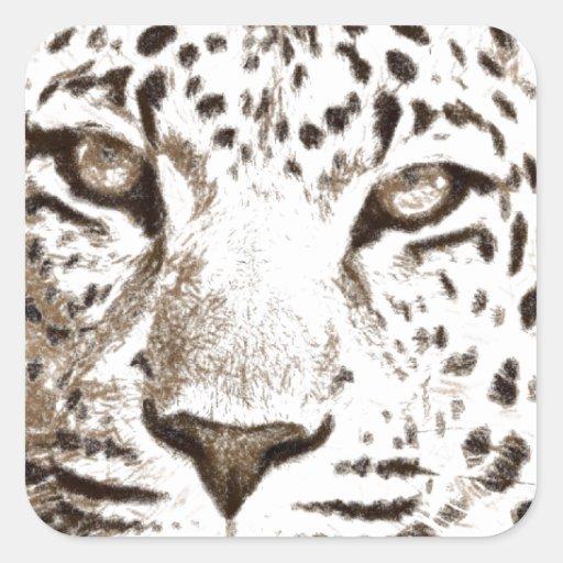 Retrato del leopardo pegatina cuadrada