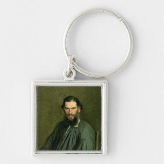 Retrato del lev Nikolaevich Tolstoy 1873 de la cue Llavero Cuadrado Plateado
