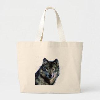 Retrato del lobo bolsa tela grande