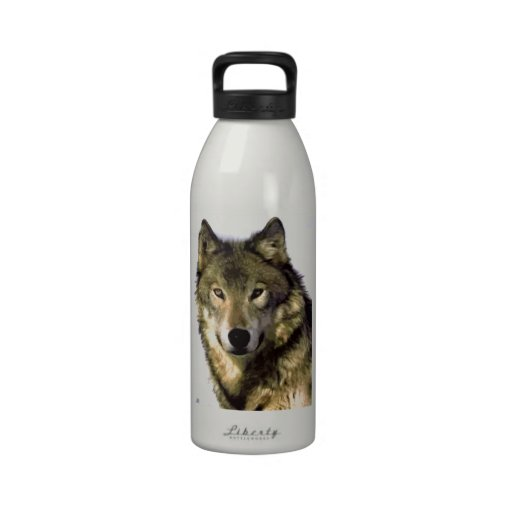 Retrato del lobo botellas de agua reutilizables