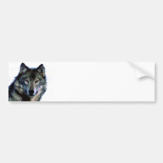 Retrato del lobo pegatina de parachoque