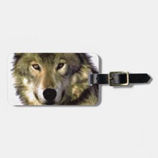 Retrato del lobo etiqueta para equipaje