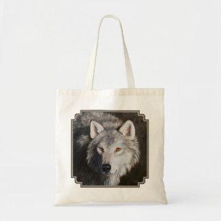 Retrato del lobo gris bolsa tela barata
