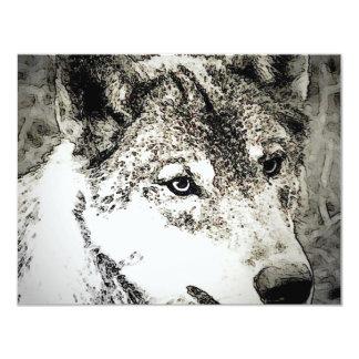 """Retrato del lobo gris invitación 4.25"""" x 5.5"""""""