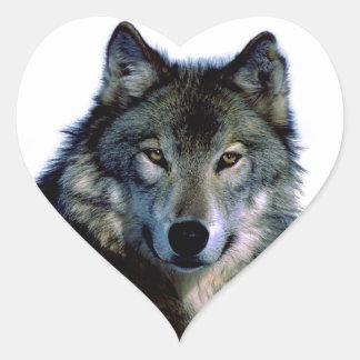 Retrato del lobo pegatina en forma de corazón