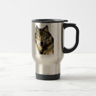 Retrato del lobo taza de viaje