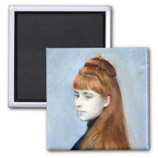 Retrato del Mademoiselle Alicia Guerin Imán Cuadrado