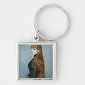 Retrato del Mademoiselle Alicia Guerin Llavero Cuadrado Plateado