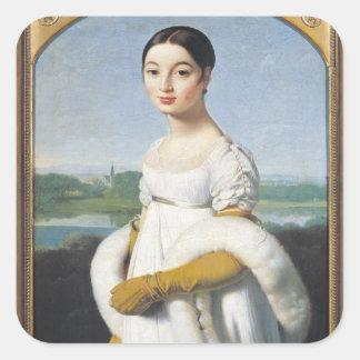 Retrato del Mademoiselle Caroline Riviere 1805 Pegatina Cuadrada