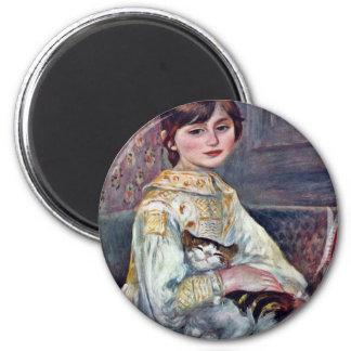 Retrato del Mademoiselle Julia Manet con el gato Imán Redondo 5 Cm