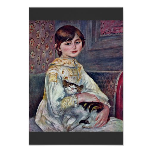 Retrato del Mademoiselle Julia Manet con el gato Impresiones